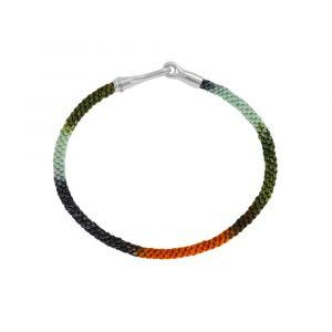 Ole Lynggaard - Life Tropic armbånd med håndknyttet reb i orange og grønne tropiske farver. Låsen i sølv er designet med en krog. Bredde 3 mm. A3040-312