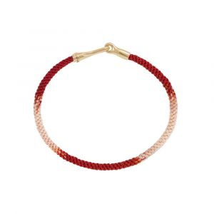 Ole Lynggaard - Life Red Emotions armbånd,med håndknyttet reb i rød og hvid. Låsen er fremstillet i 18 karat guld, designet som en krog. Bredde: 3 mm. A3040-402