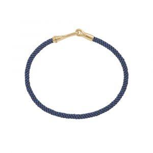 Ole Lynggaard - Life Midnight armbånd håndknyttetreb i blå og mørkeblå farve. Låsen i 18 karat guld, er designet med en krog. Bredde: 3 mm. A3040-406