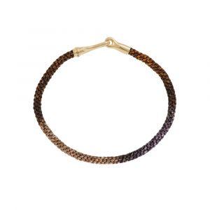 Ole Lynggaard - Life Velvet armbåndmed lås i 18 karat guld. Det fine armbånd er designet medhåndknyttet reb i brune jordfarver. Bredde 3 mm. A3040-411