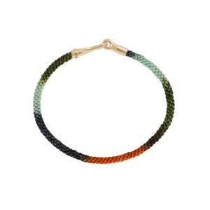 Ole Lynggaard - Life Tropic armbånd med håndknyttet reb i orange og grønne tropiske farver. Den elegante lås i 18 karat guld er designet med en krog. A3040-412