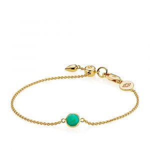 Izabel Camille - Prima Donna armbånd i forgyldt sølv. Det runde faste vedhæng er udsmykket med enfacetslebet grøn onyx.  a3057gs-green-onyx.