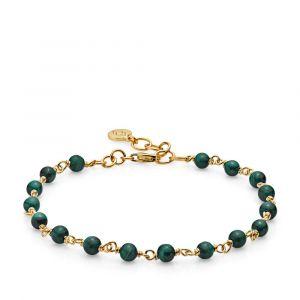 Izabel Camille - Miss Pearl armbånd i forgyldt sølv, udsmykket med ægte grønne malakit sten. a3112gsgreen.