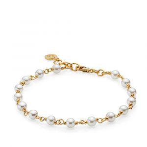 Izabel Camille - Miss Pearl armbåndi forgyldt sølv, med hvide ferskvandsperler. Det fine perlearmbånd har en justerbar længde fra 17,8 - 19,5 cm. a3112gswhite.