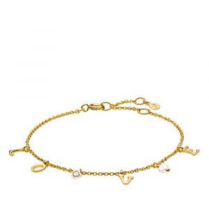 """Izabel Camille - Passion armbånd i forgyldt sølv. Langs kæden er små faste vedhæng, med bogstaverne """"LOVE"""", en zirkonia samt en ferskvandsperle. a3125gs."""