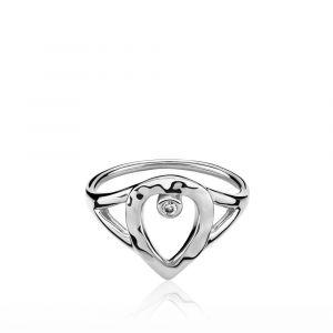 Cecilie Schmeichel ring i rhodineret sølv med zirkon (a4169sws)
