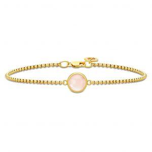 Julie Sandlau - Primini Milky Rosearmbånd i forgyldt sølv med rosa krystal. BR258GDMLROCR