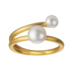 byBiehl Coco ring i forgyldt sølv med hvide ferskvandsperler, 5-3301wp-GP