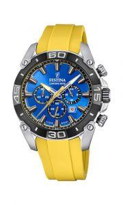 Festina - Chrono Bike herreur med blå urskive og en gul gummirem. Uret har OS20 stopurs værk, dato funktion og vandtæthed til 10 ATM. 20544-4.