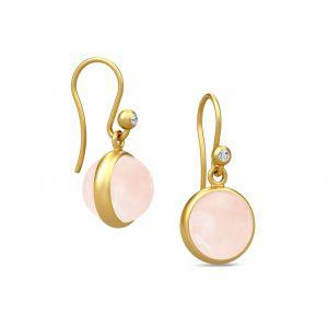 Julie Sandlau Prime øreringe i forgyldt sølv med runde rosa krystaller. HKS181GDMLROCRCZ