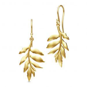 Julie Sandlau Tree of Life øreringe i forgyldt sølv, designet som blade. HKS442GD