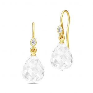 Julie Sandlau Droplet øreringe i forgyldt sølv, med facetteret klar krystal og zirkonia. HKS458GDCLCRCZ