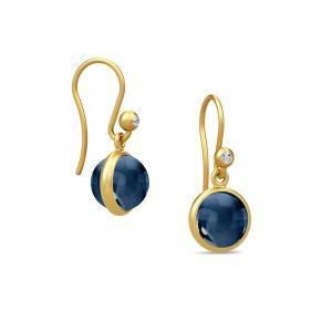 Julie Sandlau - Primini øreringe i forgyldt sølv medblå krystal. HKS496GDSACRCZ