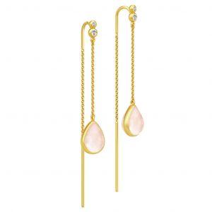 Julie Sandlau Poetry Chain ørehængere i forgyldt sølv med lyserøde krystaller og zirkonia. HKS526GDMLROCRCZ