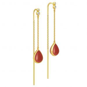 Julie Sandlau Poetry Chain øreringe i forgyldt sølv med dråbeformet rød krystal og zirkonia, HKS526GDRECOCRCZ
