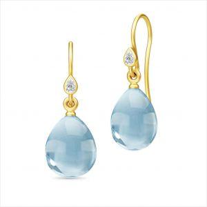 Julie Sandlau - Prima Ballerina øreringe i forgyldt sølv, med zirkonia og blå krystaller. HKS548GDOBCRCZ