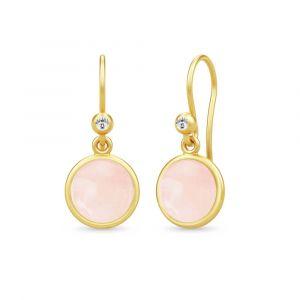 Julie Sandlau - Candice øreringe i forgyldt sølv, designet med en rund rosa krystal, der hænger under en lille klar zirkonia.Mål: 23 x 10 mm. HKS584GDMLROCRCZ.