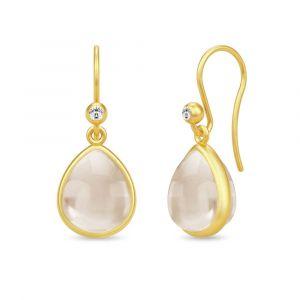 Julie Sandlau - Paloma ørebøjle i forgyldt sølv. De små øreringe er hver udsmykket med en pæreformet nude krystal og en lille zirkonia. HKS631GDNUCRCZ.