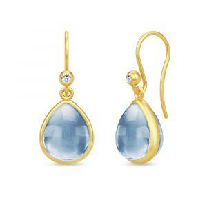 Julie Sandlau - Paloma ørebøjle i forgyldt sølv. På hver ørering er en pæreformet isblå krystal, og en lille zirkonia. HKS631GDIBCRCZ.