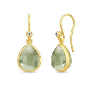 Julie Sandlau - Paloma ørebøjle i forgyldt sølv. Hver ørering er designet med en pæreformet olivengrøn krystal og en lille zirkonia. HKS631GDOLCRCZ.