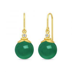 Julie Sandlau - Berry ørebøjle i forgyldt sølv. Øreringene er designet med runde grønne agater placeret under små zirkonia. Mål: 24,6 x 10 mm. HKS670GDGACZ.
