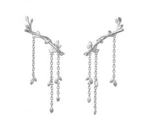 byBiehl Jungle Ivy sølv ørestikker. Lianer med små blade snor sig langs de fine øreringe. 4-3103-R