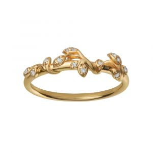 byBiehl Jungle Ivy Sparkle ring i forgyldt sølv med zirkonia. Ringen har lianer med små blade, der snor sig langs ringskinnen. 5-3102a-GP