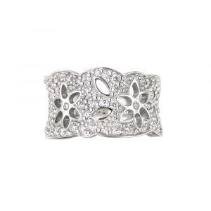 Ole Lynggaard - Lace ring i 18 karat hvidguld, designet i et udskåret mønster,paveret med 63 brillantslebne diamanter, i alt 1,13ct. TW.VS. A1761-505.