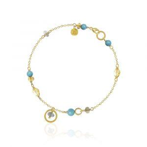 Dulong - Piccolo Sunlight armbånd i 18 karat guld.Langs den delikate kæde er små faste vedhæng, udsmykket med turkis, citrin, labradorit og safir. PIC4-A1113.