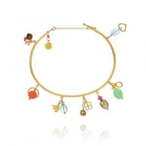 Dulong - Linea Piccolo Tropical armbånd i 18kt guld. Langs armbåndet er små vedhæng med hjerte, firkløver, ædelstene i forskellige farver, tahitiperle og briolette diamant.