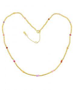 Hultquist - Penelope halskæde i forgyldt sølv. Kæden er designet som en række af små perler i forgyldt sølv, samt enkelte farvede perler. S08083-G.
