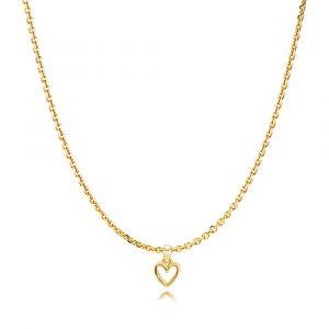 Izabel Camille - Love halskæde i forgyldt sølv. På den fine kæde er et lille vedhæng, designet som et åbent hjerte.