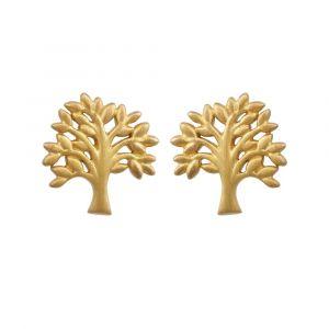 byBiehl Tree of life ørestikker i forgyldt sølv. Hver ørering er formet som et lille træ. 4-2502-GP