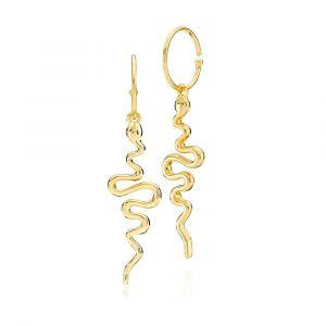 Sistie - Young One Snake øreringe i forgyldt sølv, hver med et langt elegant slageformet vedhæng.Mål: 43 x 12 mm. z1108gs.