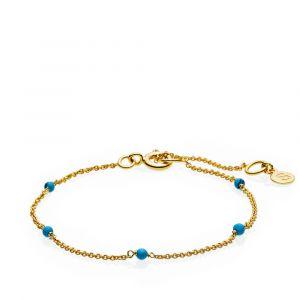 Sistie - India Turquoise armbånd i forgyldt sølv. Langs den fine kæde er enkelte små runde turkisfarvede perler. z3003gsturquoise.