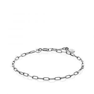 Sistie - Emma armbånd i rhodineret sølv, fremført i et moderne kæde design. z3017sws.