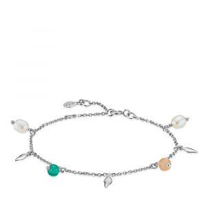 Sistie - Mia x Sistie armbånd i rhodineret sølv. Lang den smalle kæde er små faste vedhæng, udsmykket med peach moonstone, ferskvandsperler og grøn onyx. z3027sws.