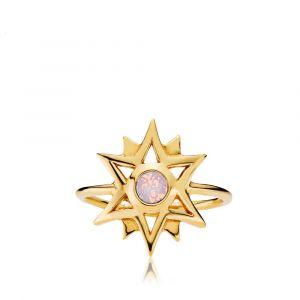 Olivia ring i forgyldt sølv med opal rosa swarovski (z4018gspink)