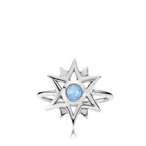 Olivia ring i rhodineret sølv med opalblå swarovski (z4018sws)