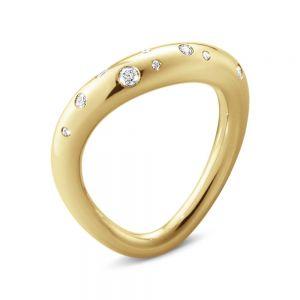 Georg Jensen - Offspring ring i 18 karat guld, designet med en let oval form. Toppen er udsmykket med brillantslebne diamanter - i alt 0,14ct.20000071000.