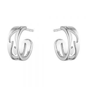Georg Jensen - Fusion Åben øreringe i 18 karat hvidguld. De fine hoop øreringe er fremstillet i et udskåret design. 10016437.