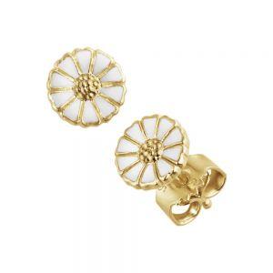 Georg Jensen - Daisyørestikker i forgyldt sølv med hvid emalje. De små marguerit øreringe har en diameter på 7 mm. 10018924.