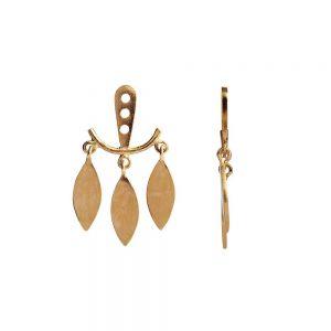 Stine A - Dancing Three Leaves Behind Ear ørevedhæng i forgyldt sølv. Vedhænget har tre små blade, designet til at hænge bag øret på en ørestik. 1158-02-S