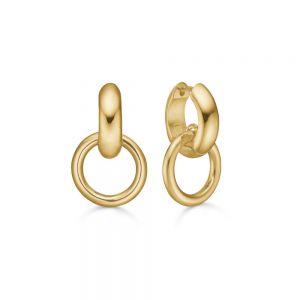 Mads Z - Love Rings øreringe i 14 karat guld. På hver af de små brede creoler, hænger en elegant cirkelformet ring. 1510010.
