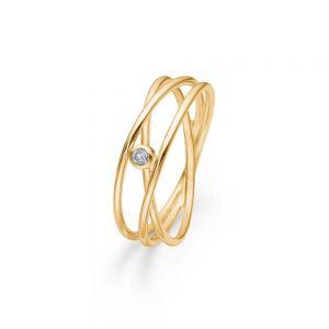 Mads Z - Diamond Nest ring i 14kt guld, med enbrillantsleben diamant. Det er en delikat ring, designet til at give en illusion af tre smalle ringe. 1541095.
