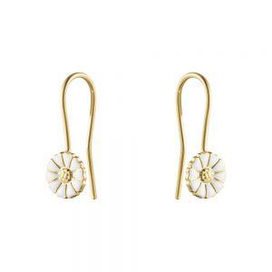 Georg Jensen - Daisy ørebøjle i forgyldt sølv med hvid emalje. De små fineøreringe er udsmykket med den klassiske marguerit blomst på 7 mm. 20000906.