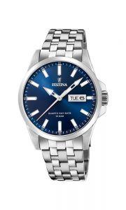 Festina - Classic herreur med mørkeblå urskive, dag og datovisning. Det er et klassisk ur, med urkasse og lænke i rustfrit stål. 20357-3.