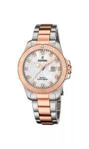Festina - Lady's sport ur med hvid perlemor urskive, urkasse og lænke i rosa og sølvfarvet stål.Uret harVandtæthed til 10 ATM. Datovisning. f20505-1