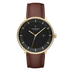 Nordgreen - Philosopher Christopher ur i skandinavisk design. Uret har enurkasse i guldfarvet rustfrit stål, sort urskive og mørkebrun læderrem.