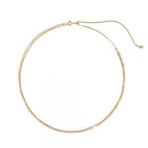 Maria Black - Cantare halskæde i forgyldt sølv. Halskæden er designet som to kæder i èn, med en unik hvid barok ferskvandsperle som fin detalje. 300382YG